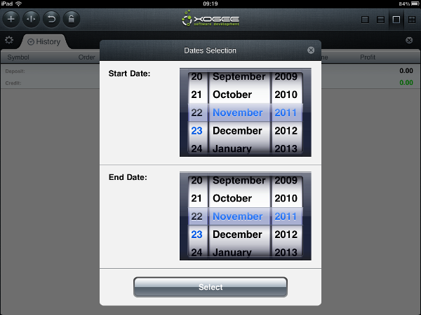 iPad Trader History Section