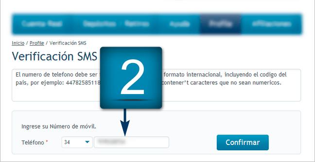 2. Introduzca su número de teléfono móvil de acuerdo con el formato de número internacional y haga clic en
