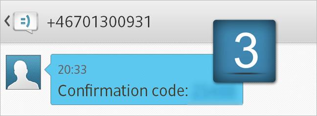 3. Usted recibirá un mensaje SMS con el código de confirmación.