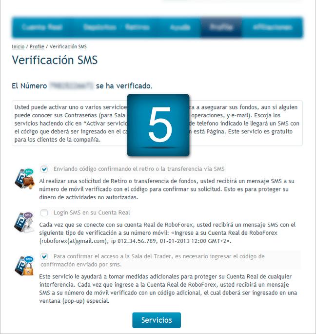 5. Después de pasar la verificación de SMS, puede habilitar uno o varios servicios de SMS. Marque los servicios, que están interesados en usted, y haga clic en
