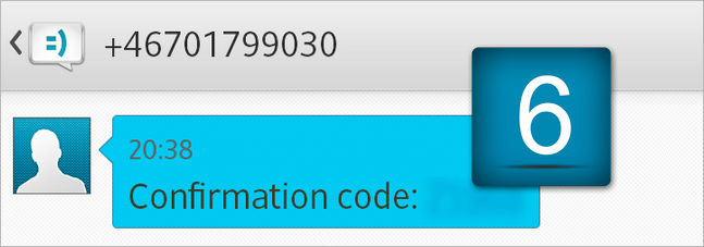 6. Usted recibirá un mensaje SMS con el código de confirmación.