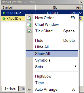 Customizing the Market Watch window for MT4 Demo-Pro account