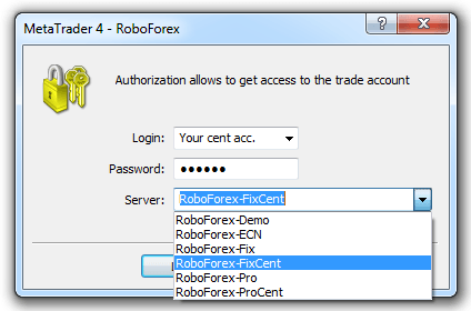 Login to your RoboForex cent account